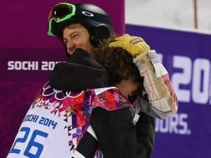 Shaun White congratulates Iouri Podladtchikov in the Sochi Winter Olympics