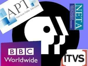 PBS logo partially covered by other public television organization logos.