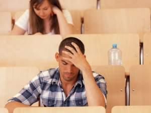 student studying, taking a test