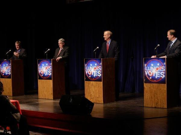 State Treasurer Dan Rutherford, from left, state Sen. Kirk Dillard, businessman Bruce Rauner, and state Sen. Bill Brady, participate in a Republican gubernatorial debate, Tuesday, Feb. 18, 2014, in Springfield, Ill. The four GOP candidates seek to be