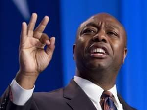 Sen. Tim Scott, R-S.C., speaks during the Values Voter Summit, held by the Family Research Council Action in Oct. 2013.
