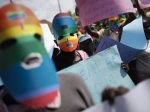 Activists protest Uganda's anti-gay legislation in Nairobi, Kenya, this month. LGBT status has been grounds for asylum in the U.S. since 1994, but winning refugee status can be difficult, particularly for people who are unable to obtain visas to