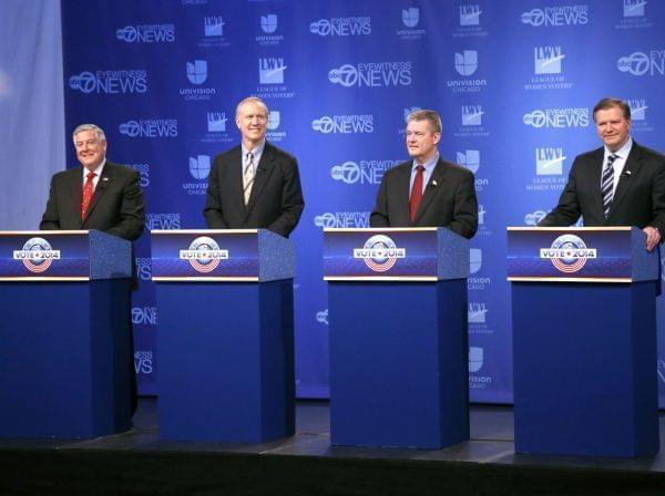 Republican gubernatorial candidates from left, State Sen. Kirk Dillard, Bruce Rauner, State Treasurer Dan Rutherford and State Sen. Bill Brady get ready before a televised debate Thursday, Feb. 27, 2014, in Chicago.
