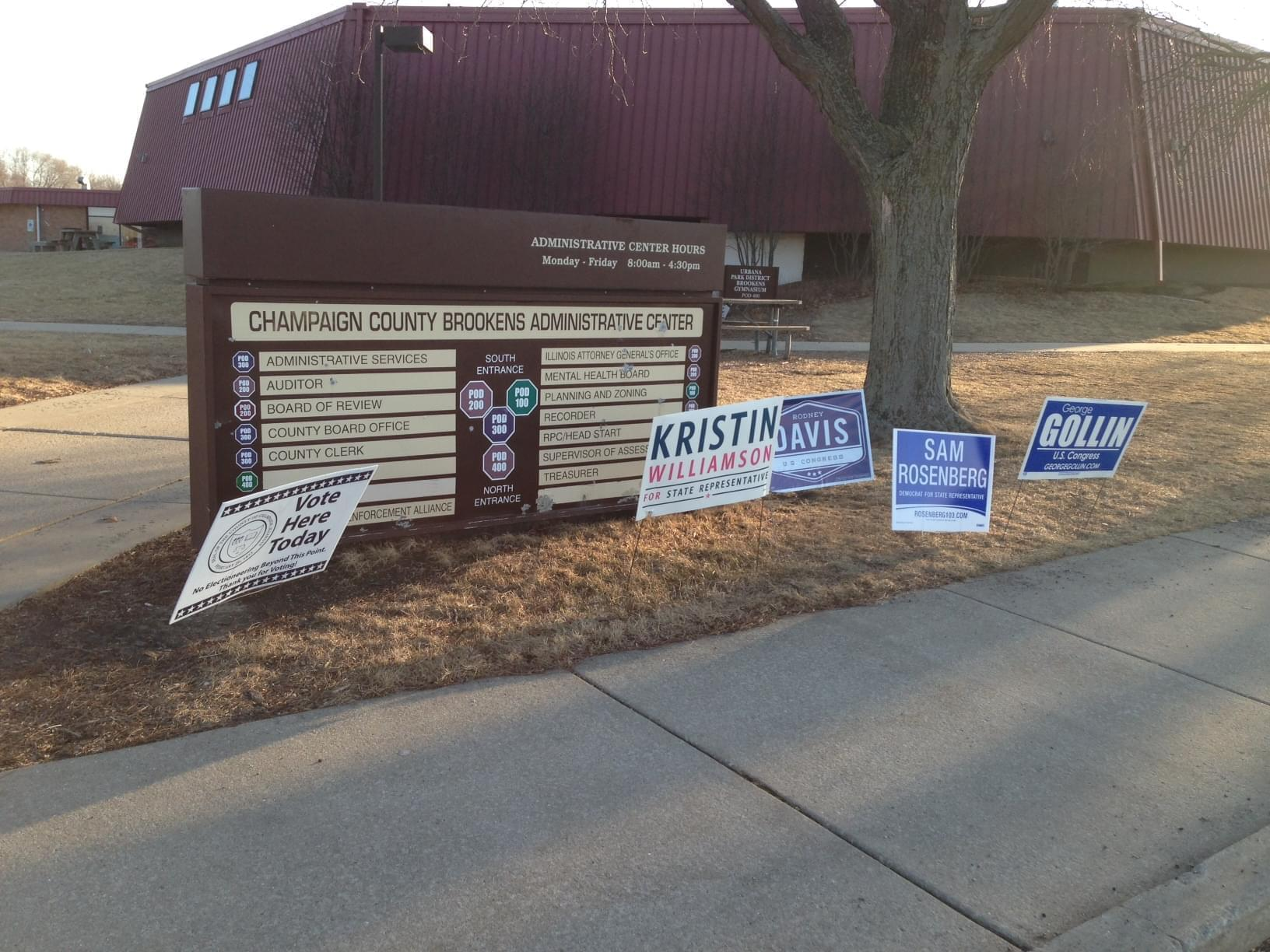 The Brookens Administrative Center in Urbana, Ill. on the day of the Primary Election on March 18, 2014.