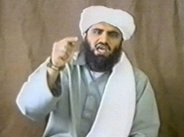 Sulaiman Abu Ghaith appears in this still image taken from an undated video address. Abu Ghaith, one of Osama bin Laden's sons-in-law and a former spokesman for al-Qaeda, is on trial in New York.