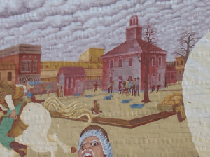 A mural depicting the March 28, 1864 riot between between Union troops and Southern sympathizers in Charleston, Ill.