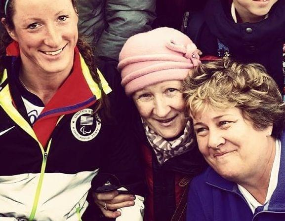 Tatyana McFadden with her Russian birth mother, Nina and birth mother, Deborah at the 2014 Winter Paralympic, Sunday, March 9, 2014, in Krasnaya Polyana, Russia.