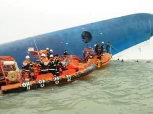 Republic of Korea Coast Guard continues their rescue work around the site of ferry sinking accident off the coast of Jindo Island on Wednesday in Jindo-gun, South Korea. Four people are confirmed dead and almost 300 are reported missing. The ferry id