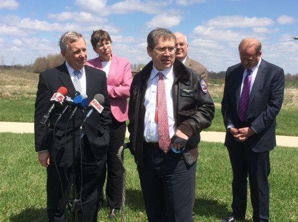 U.S. Sens. Mark Kirk and Dick Durbin speak to reporters Tuesday at Scott Air Force Base.
