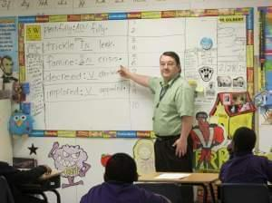Teacher Tim Gilbert at Roberston Charter School in Decatur, Ill.