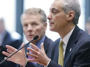 Illinois House Speaker Michael Madigan, left, and Chicago Mayor Rahm Emanuel appear before an Illinois House committee meeting Thursday, April 17, 2014, in Chicago, regarding a plan to devote $100 million in state funds to help bring President Barack