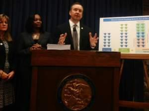 Sen. Andy Manar (D-Bunker Hill) introduces his Senate Bill 16, which would overhaul how Illinois determines state funding of schools.