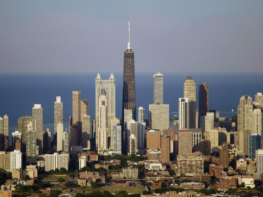 The Chicago skyline. The city's police chief says his officers can't keep up with the number of illegal weapons on the city's streets.
