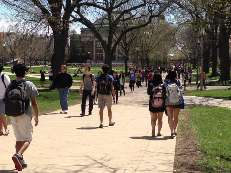 Students at the University of Illinois at Urbana-Champaign on April 25, 2014.