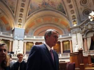 House Speaker John Boehner leaves the chamber of the Portuguese parliament during an April 17 visit in Lisbon. Boehner was in Lisbon as part of an international trip that included visits to Afghanistan and Abu Dhabi.