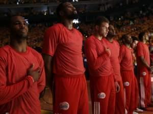 In a protest against comments attributed to Los Angeles Clippers owner Donald Sterling, the team's players wore their red warm-up shirts inside out to hide the team's logo. The NBA is still working to confirm Sterling made the controversial