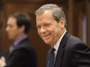 Illinois Senate President John Cullerton, D-Chicago, smiles as pension legislation passes while on the Senate floor at the Illinois State Capitol Tuesday, Dec. 3, 2013 in Springfield Ill.