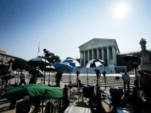 Members of the media camp outside the U.S. Supreme Court in June of 2013.