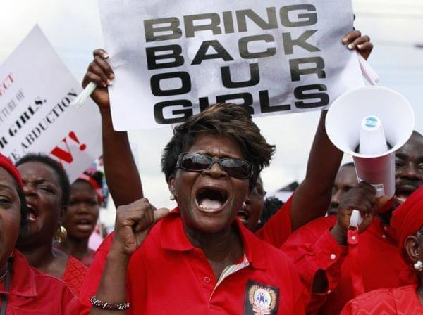 Nigerian women in Lagos on Monday demand that the government do more to rescue the teenage girls who were kidnapped three weeks ago by a radical Islamist group in the northeastern part of the country. The government says it does not know where the gi
