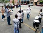 Drumming in the parking lot before the film screening