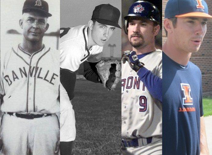 (l to r) Glenn (minor league pitcher coaching Danville Boosters in photo), Tom (minor league, major league pitcher, seen here pitching for the U of I), Darrin (former catcher with the U of I and 4 major league clubs), and Casey Fletcher (U of I.)