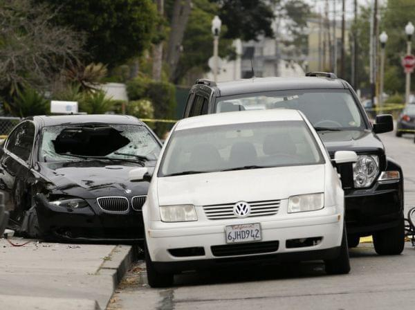 Police tape marks scene of shooting in California,