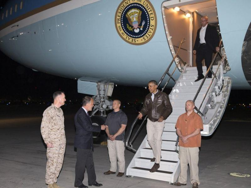 President Obama arrives in Afghanistan.