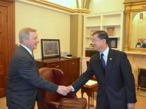 U.S. Senator Dick Durbin (D-Ill.) met with Department of Veteran's Affairs Secretary Eric Shinseki on May 22, 2014.