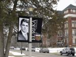 In this photo taken Jan. 25, 2011, a banner noting the centennial of Ronald Reagan's birth hangs on the campus of his alma mater, Eureka College in Eureka, Ill.