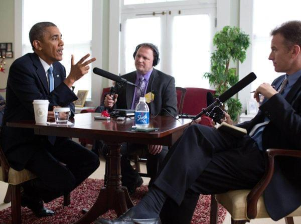 NPR's Steve Inskeep (r) talks with President Barack Obama (l) on May 28, 2014.