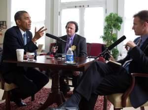NPR's Steve Inskeep (r) talks with President Barack Obama (l) on May 28, 2014.