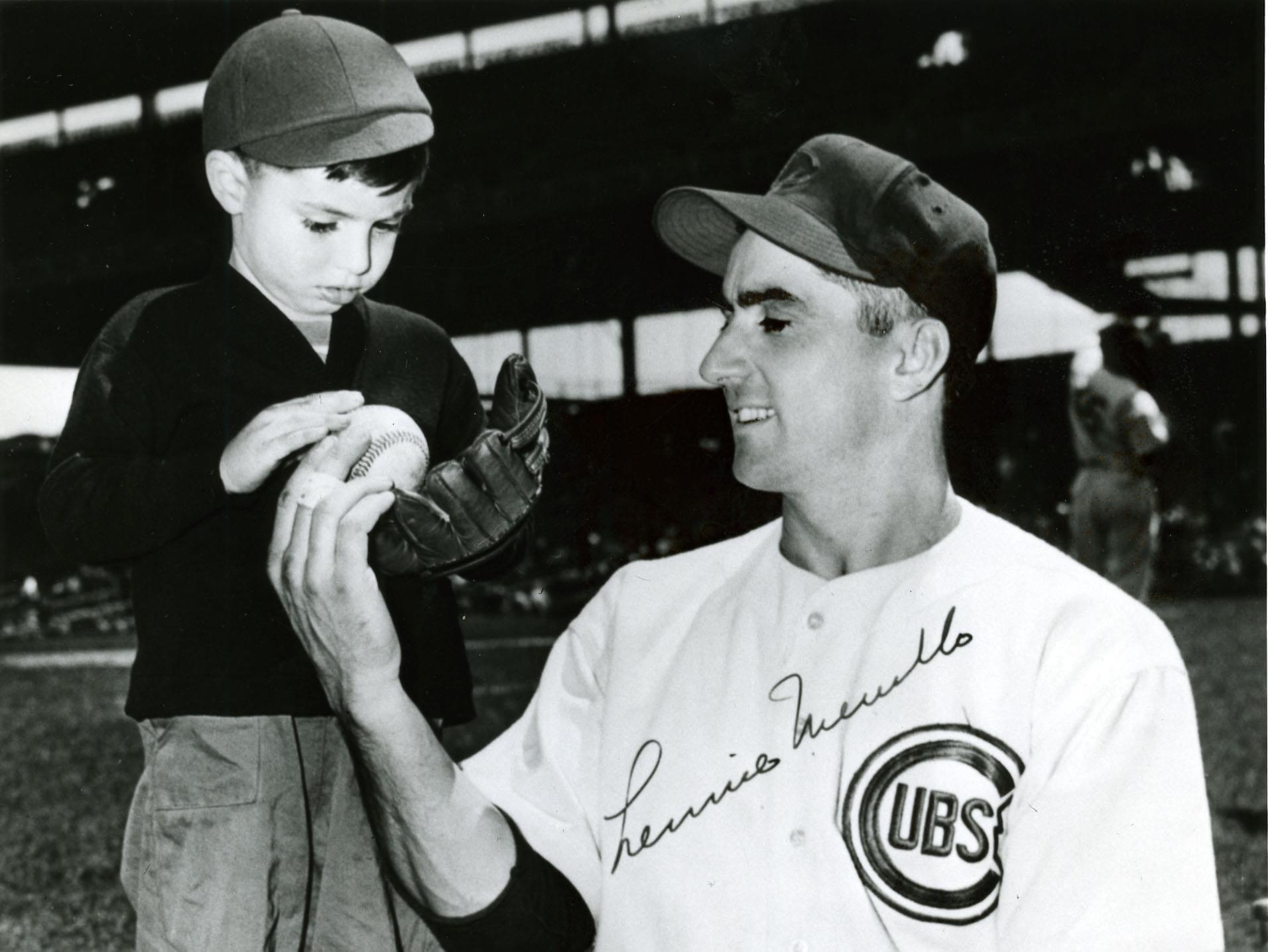 Lennie Merullo and his son, Len 'Boots' Merullo at Wrigley Field.