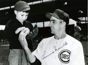 Lennie Merullo and his son, Len 'Boots' Merullo at Wrigley Field.