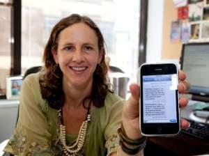 Want a cig? Researcher Lorien Abroms displays a sample Text2Quit message.