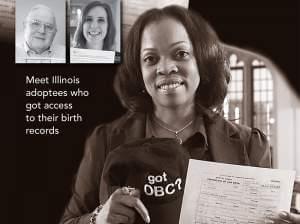 Photo of 3 Illinois adoptees holding their original birth certificates