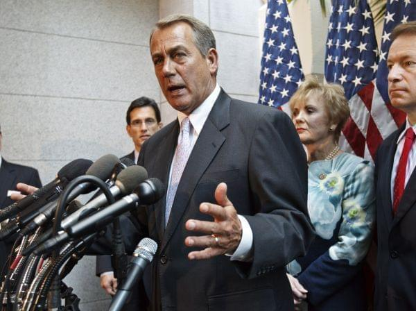 House Speaker John Boehner, R-Ohio, and other party leaders, meet with reporters following a GOP strategy session on Capitol Hill in Washington, Thursday, May 31, 2012. From right to left are Chief Deputy Whip Peter Roskam, R-Ill., Rep. Kay Granger,