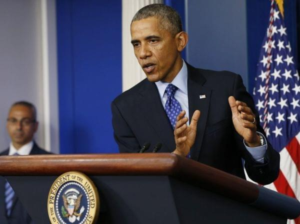 President Obama speaks about Iraq in the Brady Briefing room of the White House Thursday.