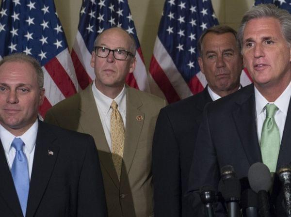 Newly elected House GOP Majority Leader Kevin McCarthy (right) and Whip Steve Scalise (left), hold a press conference following Republican leadership elections on Capitol Hill Thursday.