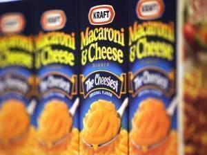 Packages of Kraft Macaroni & Cheese fill the shelves of a store Monday, May 4, 2009, in Chicago Ridge, Ill.