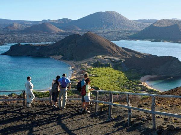 People looking at Galapagos scenery