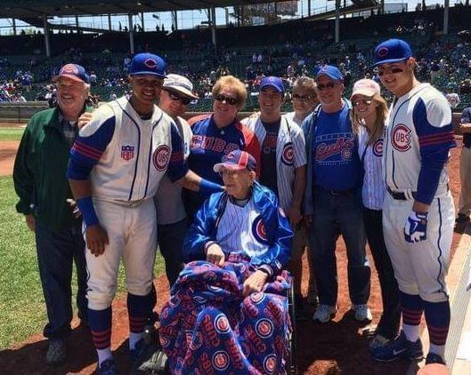 Louis Reinhart and family at Wrigley Field