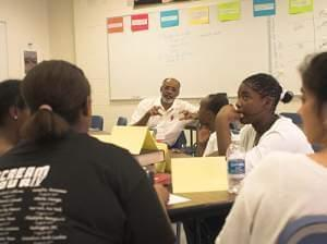 Leon Dash, Professor of Journalism at Illinois, and Franklin Middle School students