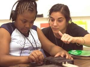 Franklin Middle School teacher Shameem Rakha and Youth Media Workshop student Kayla Carter