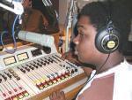Keenen, a student at Urbana High School, engineers an audio interview