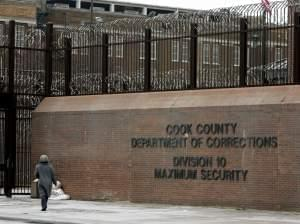 A Feb. 12, 2006 file photo shows a pedestrian walking past an entrance to the Cook County Jail in Chicago.