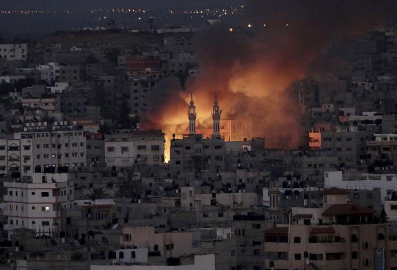 Smoke and flames from Israeli strike over Gaza City