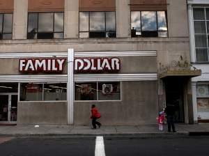 People shop outside of a Family Dollar discount store in Waterbury, Connecticut.