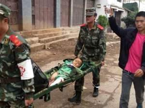 Injured child in China quake