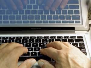 Hands on a keyboard on Feb. 27, 2014