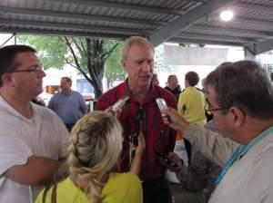Bruce Rauner takes questions at the Illinois State Fair Thursday.